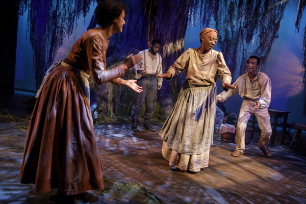 Tiffany Rachelle Stewart as Mattie, Chinaza Uche as Henry (rear), Stephanie Berry as Aunt Mama, and Sheldon Best as James