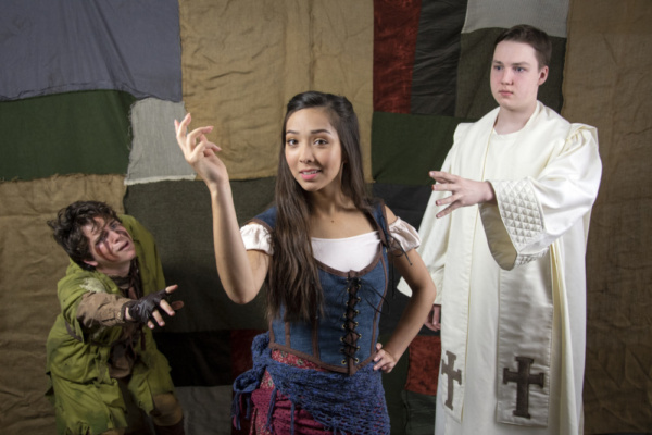 Andy Stratton, Arianna Sy, and Luke Williams in The Hunchback of Notre Dame, photograph by Jason Johnson-Spinos