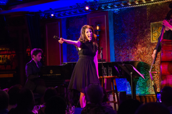 Rachel Ulanet on stage at Feinstein's/54 Below on May 29th. Matt Baker at the piano.  Photo