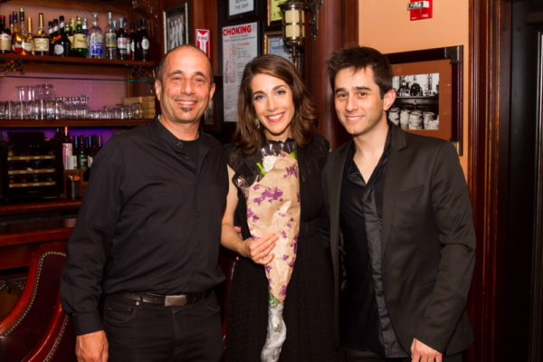Rachel Ulanet with two of her three onstage fellas: musical director and pianist, Matt Baker on the right, and percussionist, Ray Marchica. Bassist, Matt Blanco, had to run! Photo: Takako Harkness