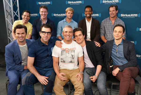 Actors (front row L-R)  Andrew Rannells, Zachary Quinto, Matt Bomer, Jim Parsons, (back row L-R) Robin de Jesus, Brian Hutchison, Charlie Carver,  Michael Benjamin Washington and Tuc Watkins