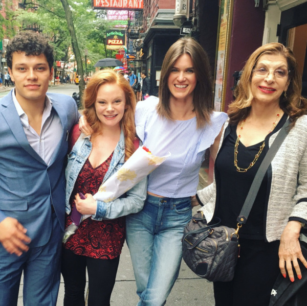 The cast of A Heart Scam and playwright Susan Boggess outside of the Players Theatre NYC