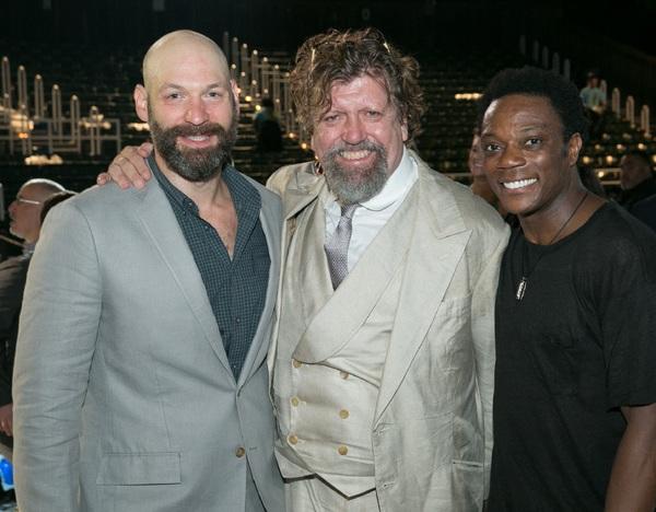 Corey Stoll, Public Theater Artistic Director Oskar Eustis, and Chukwudi Iwuji