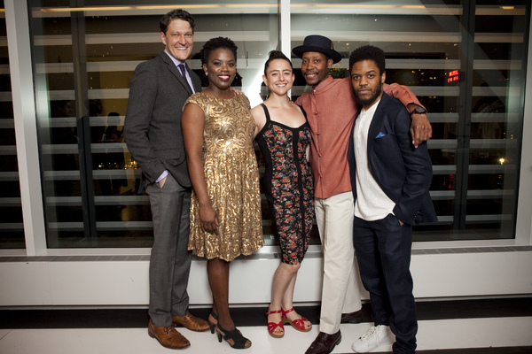 Gabriel Ebert, Jon Michael Hill, and Namir Smallwood with playwright Antoinette Nwandu and director Danya Taymor