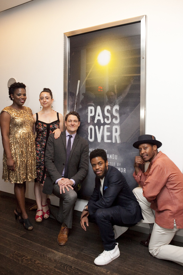 Gabriel Ebert, Jon Michael Hill, and Namir Smallwood with playwright Antoinette Nwandu and director Danya Taymor