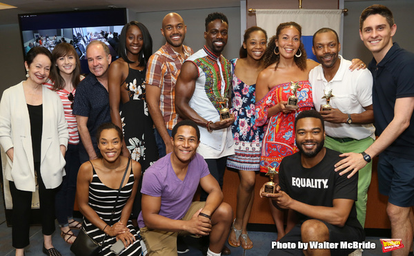 Lynn Ahrens and Stephen Flaherty with company members and winners Rodrick Covington, Cassondra James, T. Oliver Reid, and Grasan Kingsberry