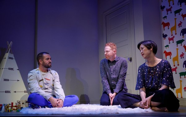 Ian Harvie, Jesse Tyler Ferguson, and Cindy Cheung. Photo by Joan Marcus
