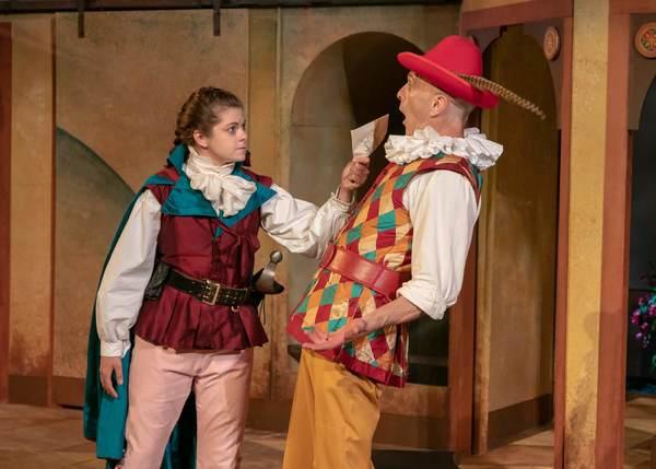 Izzie Steele as Beatrice Risponi and James Michael Reilly as Truffaldino Photo