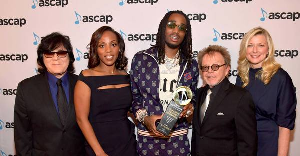 Songwriter of the Year Quavo (center) with ASCAP's John Titta, Nicole George-Middleton, Paul Williams and Beth Matthews.