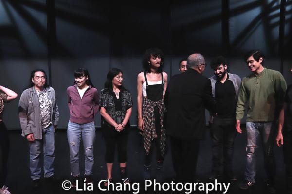 Playwright N. Riantiarno meets actors Aaron L. Morishita, Megan Masako Haley, Debbie  Photo