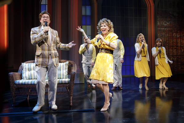 """Chaz Pofahl as Jim Bakker and Kirsten Wyatt as Tammy Faye Bakker, with members of the Company, in BORN FOR THIS â€"""" A NEW MUSICAL"""