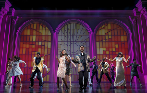 "Loren Lott as CeCe Winans and Donald Webber Jr. as BeBe Winans, with members of the Company, in BORN FOR THIS â€"" A NEW MUSICAL"