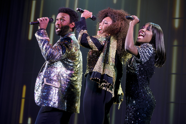 """Donald Webber Jr. as BeBe Winans, Liisi LaFontaine as Whitney Houston, and Loren Lott as CeCe Winans in BORN FOR THIS â€"""" A NEW MUSICAL"""