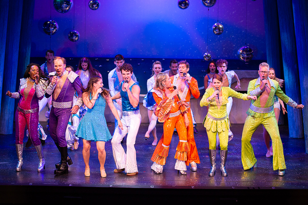 The cast of MAMMA MIA! now playing at Theatre By The Sea thru July 21, 2018. Photos b Photo