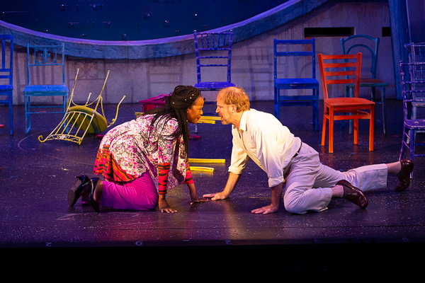 Jeannette Bayardelle (Rosie) and Al Bundonis (Bill) in MAMMA MIA! now playing at Theatre By The Sea thru July 21, 2018. Photos by Steven Richard Photography.