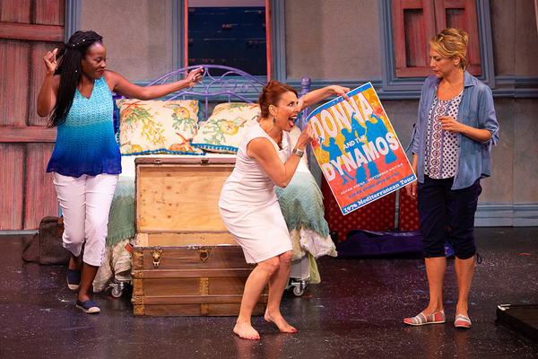 Jeannette Bayardelle (Rosie), Tari Kelly (Tanya), and Erica Mansfield (Donna) in MAMMA MIA! now playing at Theatre By The Sea thru July 21, 2018. Photos by Steven Richard Photography.