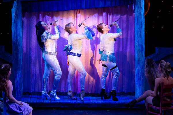 Jeannette Bayardelle (Rosie), Erica Mansfield (Donna), and Tari Kelly (Tanya) in MAMMA MIA! now playing at Theatre By The Sea thru July 21, 2018. Photos by Steven Richard Photography.