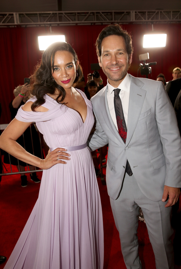 """HOLLYWOOD, CA - JUNE 25:  Actors Hannah John-Kamen (L) and Paul Rudd attend the Los Angeles Global Premiere for Marvel Studios' """"Ant-Man And The Wasp"""" at the El Capitan Theatre on June 25, 2018 in Hollywood, California.  (Photo by Jesse Grant/Getty Images"""