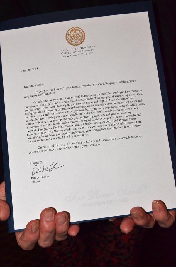 Note from Mayor Bill de Blasio to Larry Kramer