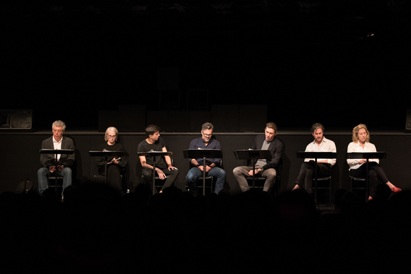 The cast of Destiny of Me (Eric Bogosian, Ellen Barkin, Gideon Glick, Mark Ruffalo, L Photo