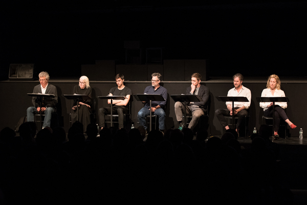 The cast of Destiny of Me (Eric Bogosian, Ellen Barkin, Gideon Glick, Mark Ruffalo, Lee Pace, Josh Hamilton with stage directions by Edie Flaco)