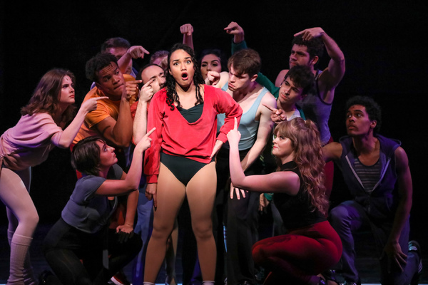 Nisa Mercado as Diana Morales and the cast of Heritage Theatre Festival's A Chorus Line