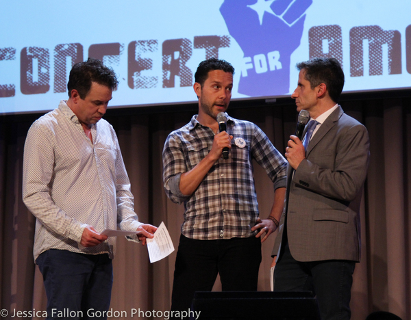 James Wesley and Seth Rudetsky with a representative from the Texas Civil Rights Project