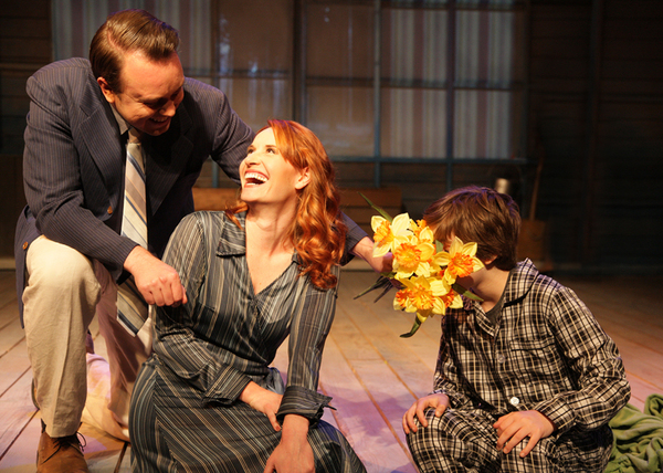 Jeff Lowe as Edward Bloom, Laura M. Hathaway as Sandra Bloom, and Jason Brewer as Young Will in the regional premiere of Big Fish