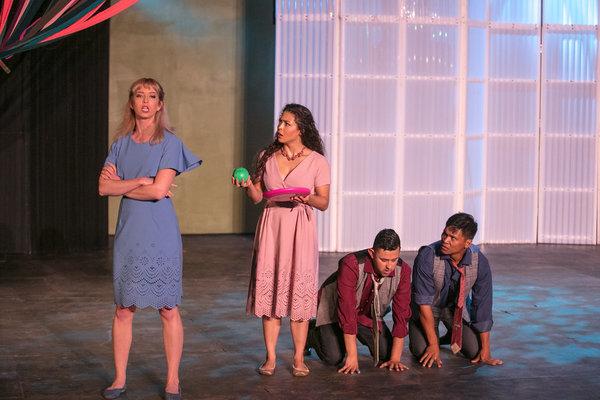 Julia Aks (Helena), Katie Powers-Faulk (Hermia), Xavi Moreno (Lysander), Jose Acain (Demetrius)