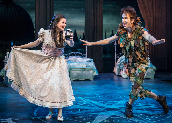 Wendy Darling (Elizabeth Stenholt) and Peter Pan (Johnny Shea) become fast friends in Peter Pan – A Musical Adventure, directed and choreographed by Amber Mak, in the Courtyard Theater, June 27–August 19, 2018. Photo by Liz Lauren.
