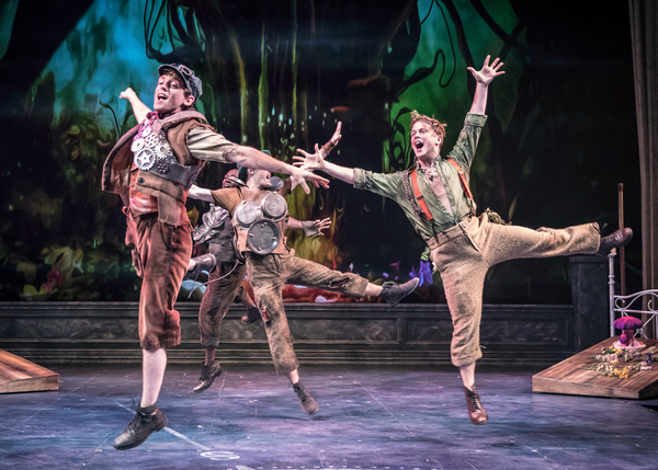 "Toodles (Michael Kurowski), Nibs (Travis Austin Wright), Curly (Colin Lawrence), Slightly Soiled (John Marshall Jr.) rejoice in being part of �""The Lost Boys Gang"" in Peter Pan – A Musical Adventure, directed and choreographed by Amber Mak, in the Co"