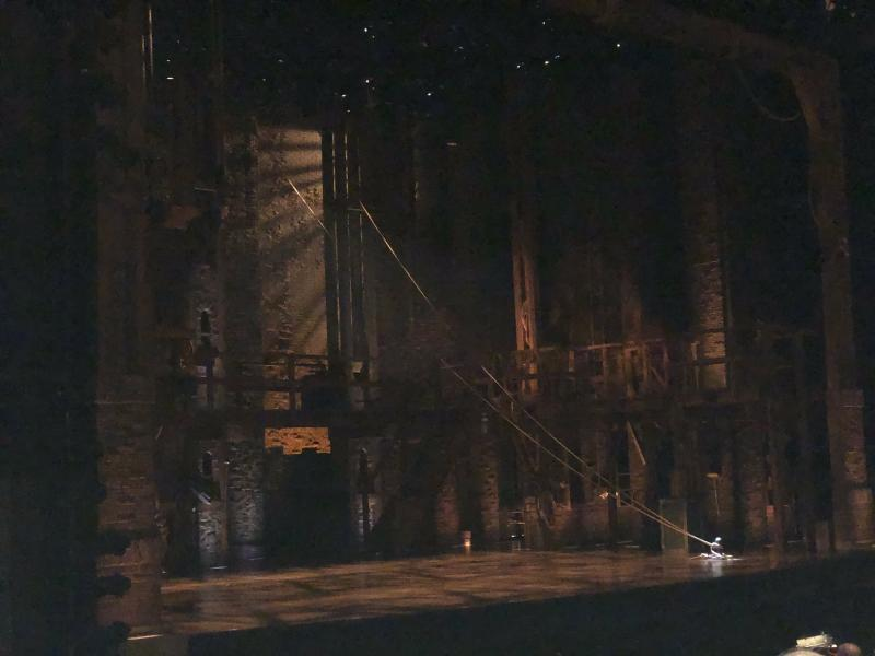 Photo caption: The set of Hamilton at the Des Moines Civic Center, prior to curtain. DO NOT take photos or video during shows at the Civic Center or Mr. Shapiro WILL tackle you. I've seen him do it, and it is not pretty.