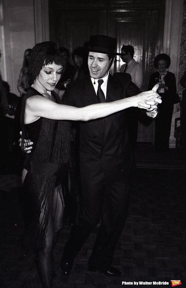 Liliane Montevecci dancing with Lee Roy Reams at a Broadway Benefit on Jan 30, 1983 in New York City.