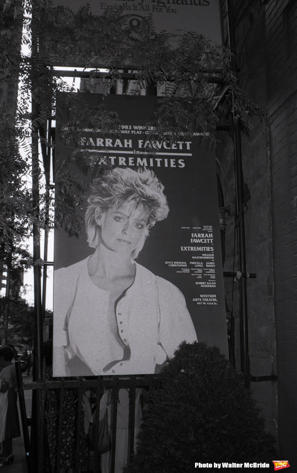 Theatre Marquee of Farrah Fawcett during rehearsals for 'Extremeties' on June 17, 1983 at Westside Arts Theatre in New York City.