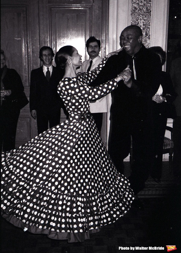 Geoffrey Holder and wife Carmen De Lavallade dancing at a Benefit Party on September 1, 1983 in New York City.