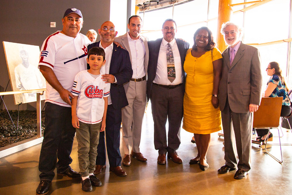 Reynerio Tamayo and guest, Gary Anuez, Executive Director of Caribbean Education and Baseball Foundation Thomas Goodman, Editor in Chief of La Vida Baseball Adrian Burgos, Arena Stage Board Chair Judith Batty and Arena Stage Trustee Elliot J. Feldman