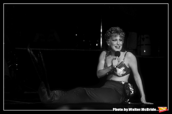 Bette Midler performing in her show 'Art or Bust' at Radio City Music Hall in New York City. March 1983