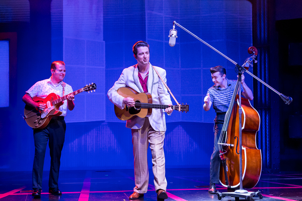 Matt Codina (Scotty Moore), Eddie Clendening (Elvis), Zach Lentino (Bill Black)