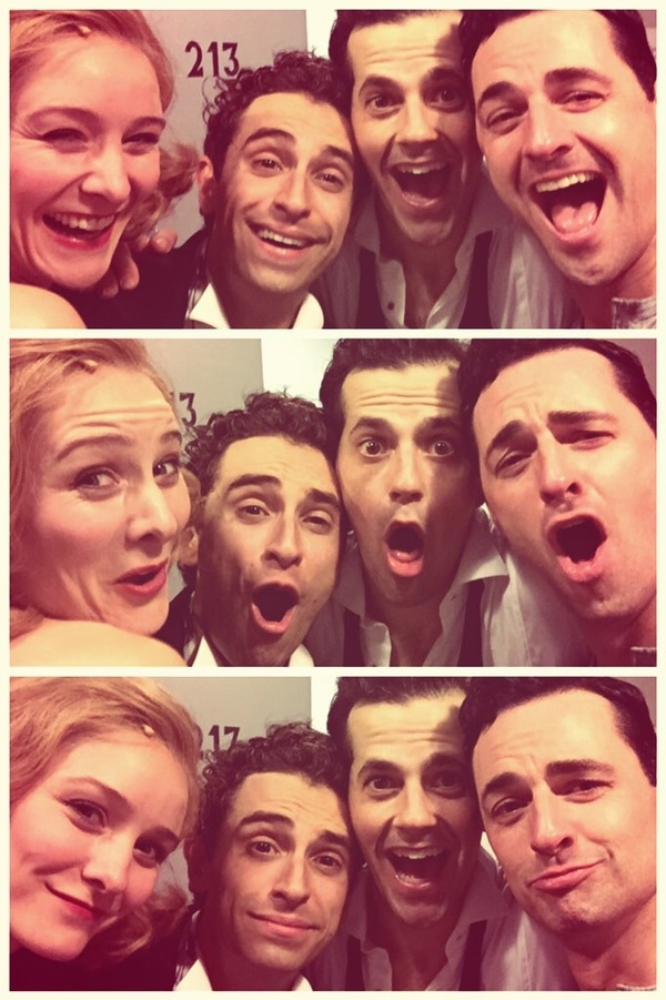 Jill with Brandon Uranowitz, Robbie Fairchild and Max von Essen after the first preview of An American in Paris, Paris, 2014