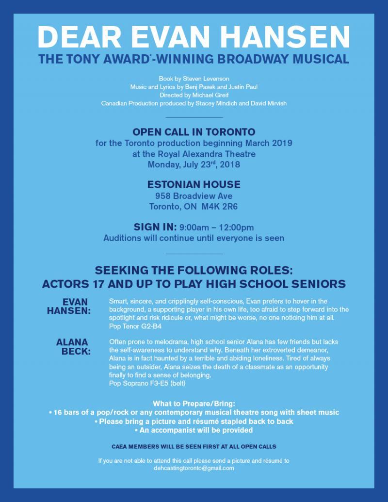 Will You Be Found? DEAR EVAN HANSEN Open Casting Call in Toronto!
