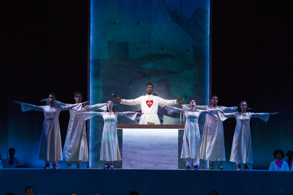 Nmon Ford, the Celebrant, and dancers in Lincoln Center's production of Bernst Photo