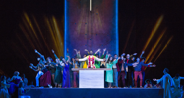 Nmon Ford, the Celebrant, members of the Street Chorus, and dancers in Lincoln Center's production of Leonard Bernstein's MASS at the 2018 Mostly Mozart Festival