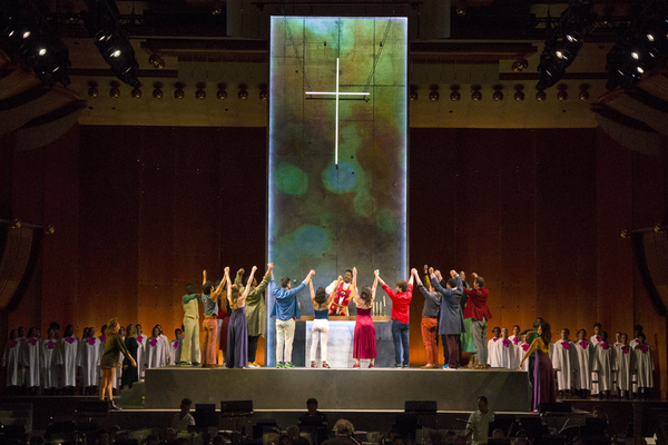 Nmon Ford, the Celebrant, and the cast and orchestra of Lincoln Center's production of Leonard Bernstein's MASS at the 2018 Mostly Mozart Festival