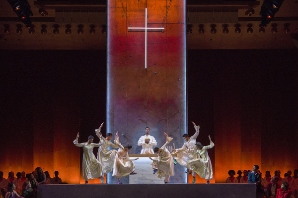 Nmon Ford, the Celebrant, and dancers in Lincoln Center's production of Leonard Bernstein's MASS at the 2018 Mostly Mozart Festival