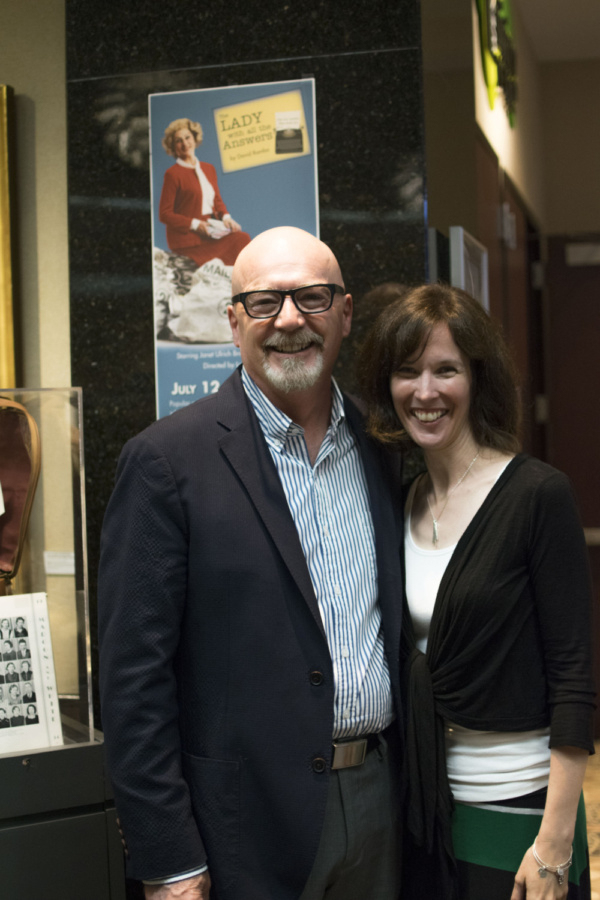 TATC Artistic Director Linda Fortunato and Director Larry Wyatt at the Opening Night of The Lady With All the Answers at Theatre at the Center.