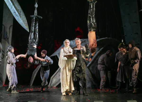 Quentin McCuiston as Chiron, Fiona Robberson as Lavinia, Bruce Cromer as Titus Andron Photo