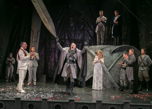 Robert Cuccioli as Marcus, Bruce Cromer as Titus Andronicus, Fiona Robberson as Lavin Photo