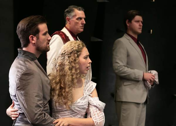 Oliver Archibald as Bassianus, Fiona Robberson as Lavinia, Robert Cuccioli as Marcus, and Kyle Walton as Aemilius. Photo credit: Jerry Dalia.