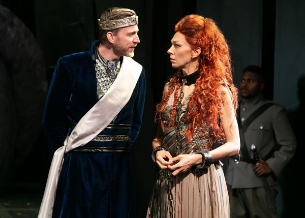 Benjamin Eakeley as Saturninus and Vanessa Morosco as Tamora. Photo credit: Jerry Dalia.