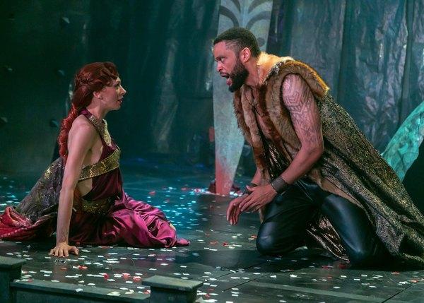 Vanessa Morosco as Tamora and Chris White as Aaron. Photo credit: Jerry Dalia.